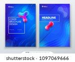 liquid color cover set. fluid... | Shutterstock .eps vector #1097069666