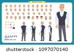 handsome male office employee... | Shutterstock .eps vector #1097070140