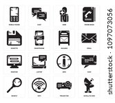 set of 16 simple editable icons ... | Shutterstock .eps vector #1097073056