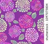 hydrangea flower seamless... | Shutterstock .eps vector #1097075804