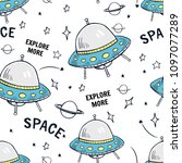 hand drawn space elements... | Shutterstock .eps vector #1097077289