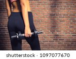 close up of a fitness woman... | Shutterstock . vector #1097077670