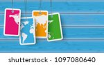 price stickers on the wooden... | Shutterstock .eps vector #1097080640