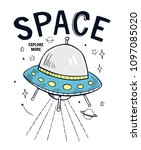 space slogan graphic  with... | Shutterstock .eps vector #1097085020