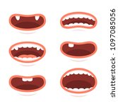cartoon style mouths set on... | Shutterstock .eps vector #1097085056