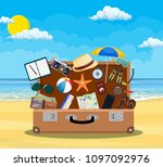 open baggage  luggage ...   Shutterstock . vector #1097092976