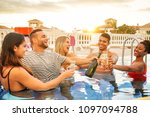 group of happy friends making a ... | Shutterstock . vector #1097094788