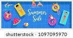 top view beach background  pool ... | Shutterstock .eps vector #1097095970