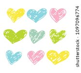 a set of hand drawn hearts...   Shutterstock .eps vector #1097096774