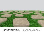 grass and brick on clear...