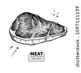 sirloin steak vector drawing.... | Shutterstock .eps vector #1097111159