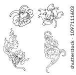 peony flower line thai style... | Shutterstock .eps vector #1097111603