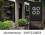 signage outside a shop mockup | Shutterstock . vector #1097113829
