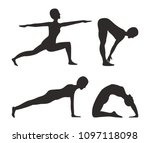 yoga and fitness activities set ... | Shutterstock .eps vector #1097118098