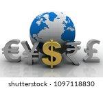 3d rendering global currencies  | Shutterstock . vector #1097118830