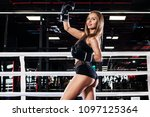 young athlete woman in boxing... | Shutterstock . vector #1097125364