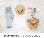 white t shirt  light blue...   Shutterstock . vector #1097126579