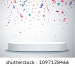 pedestal with colorful confetti ... | Shutterstock .eps vector #1097128466