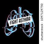 fight asthma. vector hand drawn ... | Shutterstock .eps vector #1097129750