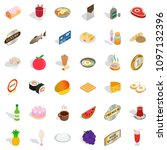 shopping icons set. isometric... | Shutterstock . vector #1097132396