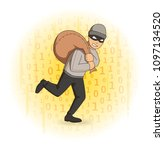 masked thief with a bag on... | Shutterstock .eps vector #1097134520