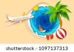 sea waves  sand beach and foam  ... | Shutterstock . vector #1097137313