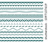 seamless blue wavy borders | Shutterstock .eps vector #1097137619
