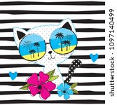 cute cat with sunglasses vector ... | Shutterstock .eps vector #1097140499