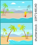 coastline poster with tropical... | Shutterstock .eps vector #1097148140