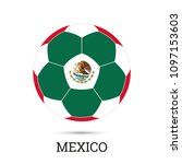 soccer ball with mexican... | Shutterstock .eps vector #1097153603