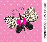 butterfly on heart background...   Shutterstock .eps vector #1097154380