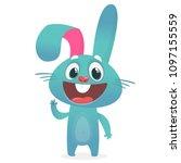 Stock vector cartoon rabbit character vector illustration easter isolated on white 1097155559