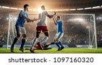 soccer game moment  on... | Shutterstock . vector #1097160320