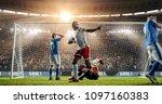 soccer game moment  on... | Shutterstock . vector #1097160383