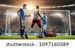 soccer game moment  on... | Shutterstock . vector #1097160389