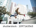 Parkour Man Doing Tricks On Th...
