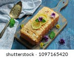 homemade moist lemon pound cake ... | Shutterstock . vector #1097165420