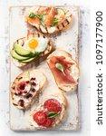 small sandwiches set. italian... | Shutterstock . vector #1097177900