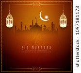abstract eid mubarak islamic... | Shutterstock .eps vector #1097181173