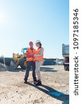 worker and engineer on... | Shutterstock . vector #1097185346
