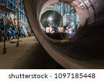 two workers welding in the...   Shutterstock . vector #1097185448
