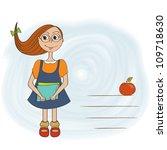 funny schoolgirl | Shutterstock .eps vector #109718630