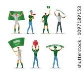 saudi arabia football fans.... | Shutterstock .eps vector #1097189153