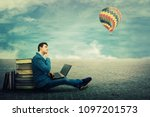 thinking student sitting on a... | Shutterstock . vector #1097201573