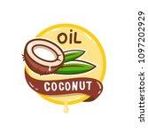 coconut oil logo. organic... | Shutterstock .eps vector #1097202929