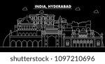 hyderabad silhouette skyline.... | Shutterstock .eps vector #1097210696