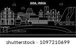 goa silhouette skyline. india   ... | Shutterstock .eps vector #1097210699
