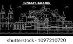 balaton silhouette skyline.... | Shutterstock .eps vector #1097210720