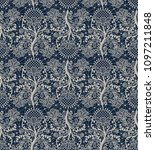 seamless dark blue lace... | Shutterstock . vector #1097211848