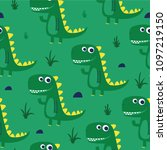 cute dinosaur pattern design as ... | Shutterstock .eps vector #1097219150
